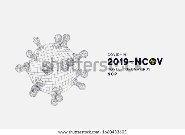 Novel Coronavirus (2019-nCoV). Virus Covid 19-NCP. Coronavirus nCoV denoted is single-stranded RNA virus. Background with viral cell polygon mesh. Linear outline style. Vector illustration.