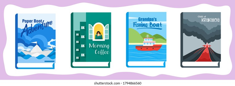 Novel or Fiction Books with Illustrative Cover and Title. Library and Reading Material Element. Can be Used for Digital and Print Infographic.