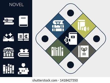 novel icon set. 13 filled novel icons.  Collection Of - Book, Books, Library