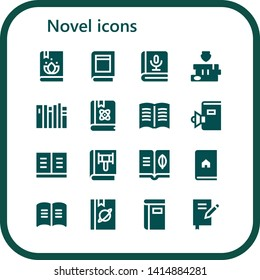 novel icon set. 16 filled novel icons.  Simple modern icons about  - Book, Books