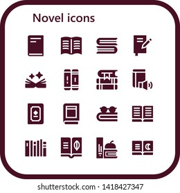 novel icon set. 16 filled novel icons.  Collection Of - Book, Books, Library