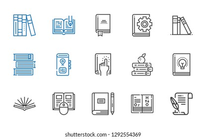novel icons set. Collection of novel with literature, science book, book, open book, books, library. Editable and scalable novel icons.