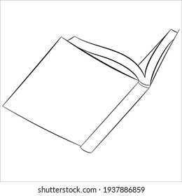 A novel for reading. An open hardcover book. Vector icon for web, library design.Vector isolated on white, outline style.