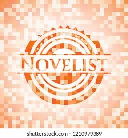 Novelist abstract emblem, orange mosaic background