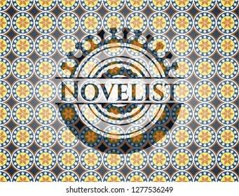 Novelist arabesque emblem background. arabic decoration.