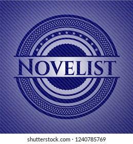 Novelist badge with jean texture