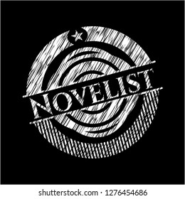 Novelist chalkboard emblem on black board