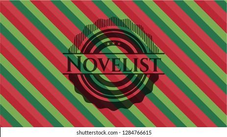 Novelist christmas emblem background.