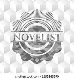 Novelist grey badge with geometric cube white background