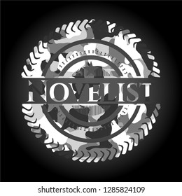 Novelist grey camouflaged emblem