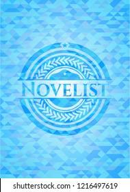 Novelist light blue emblem with triangle mosaic background
