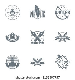 Novelist logo set. Simple set of 9 novelist vector logo for web isolated on white background