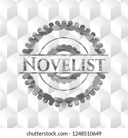 Novelist realistic grey emblem with cube white background