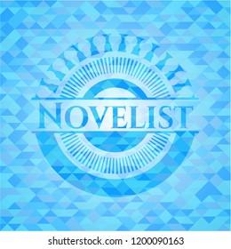 Novelist realistic light blue emblem. Mosaic background