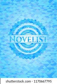 Novelist realistic light blue mosaic emblem