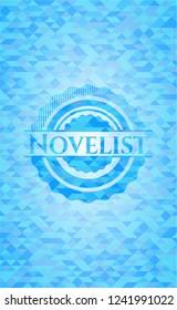 Novelist realistic sky blue emblem. Mosaic background