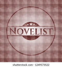 Novelist red badge with geometric pattern. Seamless.