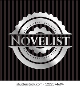 Novelist silvery emblem or badge