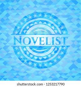 Novelist sky blue emblem. Mosaic background