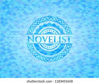 Novelist sky blue emblem with triangle mosaic background