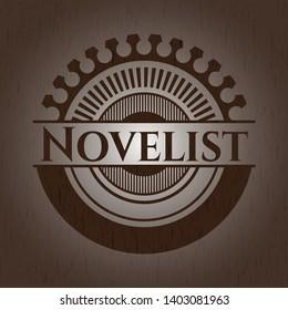 Novelist vintage wooden emblem. Vector Illustration.