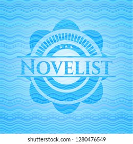 Novelist water wave representation badge.