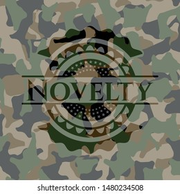 Novelty written on a camouflage texture. Vector Illustration. Detailed.