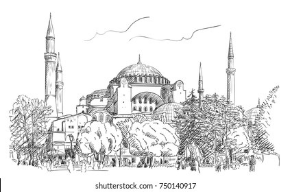 November 03, 2017: Sketch of Hagia Sophia museum in Istanbul. Vector hand drawn illustration with hatched shades