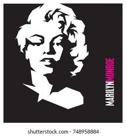 November 05, 2017: Movie star Marilyn Monroe vector isolated portrait stylized illustration