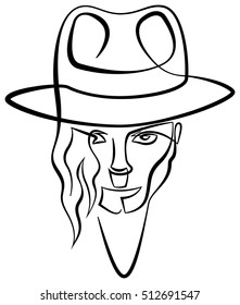 November 09, 2016: A vector linear illustration of a portrait of singer Michael Jackson on a white background.