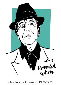November, 1 2016: A vector illustration showing  poet, novelist and Canadian singer-songwriter Leonard Cohen in hand draw style