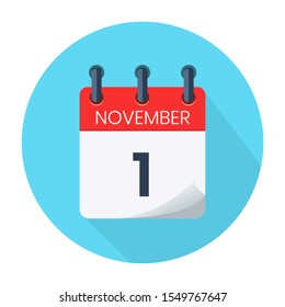 November 1. Vector Daily Calendar icon Date And Month, Day, Season