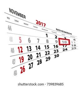 November 10, highlighted on 2017 calendar. Week starts from Sunday. Vector Illustration.