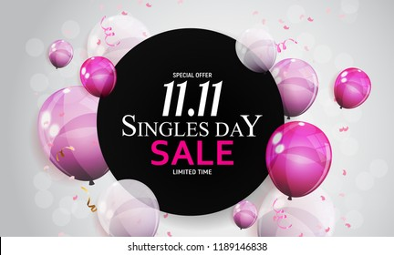 November 11 Singles Day Sale. Vector Illustration EPS10