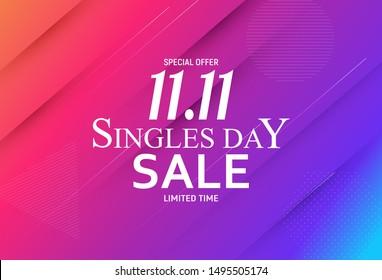 November 11 Singles Day Sale. Vector Illustration EPS10
