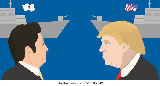 November 12, 2016: vector illustration of Prime Minister of Japan Shinzo Abe and the President of the USA Donald Trump portraits on countries' military force background. Japan and the USA relations.