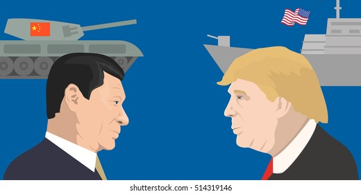 November 12, 2016: vector illustration of the President of the People's Republic of China Xi Jinping and and the President of the USA Donald Trump portraits. China and the USA relations.