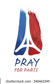 November 13, 2015: Tribute to all victims of Paris terrorist attack - Vector illustration made by brush of a symbol with praying hands, Eiffel tower and peace. Pray for Paris, Peace for Paris.