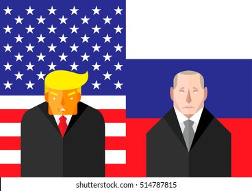 November 13, 2016: vector illustration of USA president Donald Trump and Vladimir Putin standing in front their national flags representing the changing political relationship between USA and Russia