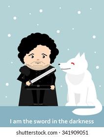 November 14, 2015: Vector illustration of Jon Snow hurt (Game of thrones)