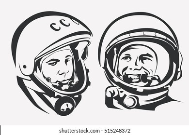 November 14, 2016: Astronaut Yuri Gagarin stylized vector symbol. The first man in Space.