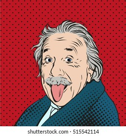 November 14, 2016: Portrait of Albert Einstein, physicist, chemist and mathematician in retro comic style. Vector pop art background