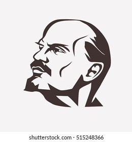 November 14, 2016: Stylized vector portrait of Vladimir Lenin. Leader of Russian revolution in 1918. Symbol of communism.