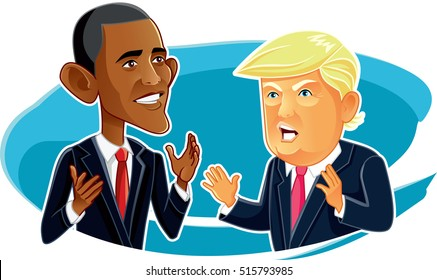 November 15, Barack Obama and Donald Trump Caricature - Vector  illustration of the American Presidents