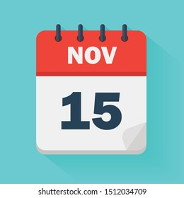 November 15th. Daily calendar icon in vector format.  Date, time, day, month. Holidays