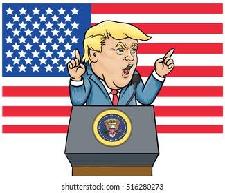 November 16, 2016: Caricature character illustration of Donald Trump