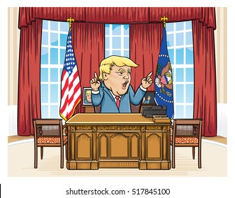 November 18, 2016: Caricature character illustration of Donald Trump