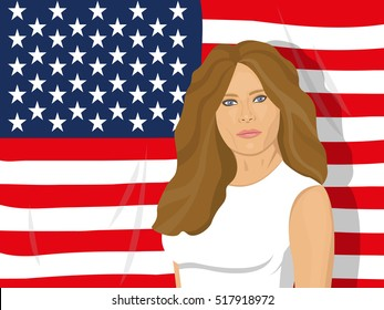 November 18, 2016: vector illustration of a portrait of the first lady of the USA Melania Trump on the USA flag background - wife of the President of the USA Donald Trump.