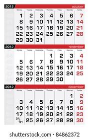 November 2012 Three-Month Calendar