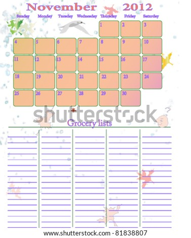 November 2012 Weekly Grocery Lists Help Stock Vector Royalty Free